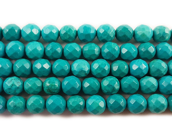 6mm Chinese turquoise faceted round beads