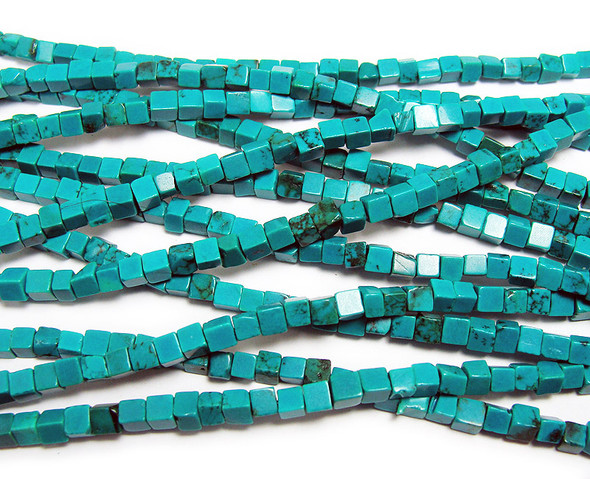 3.5mm Chinese turquoise cube beads