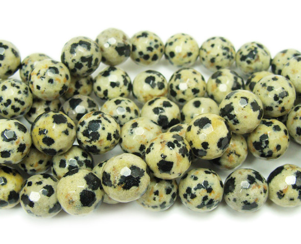 10mm  Dalmatian jasper faceted round beads