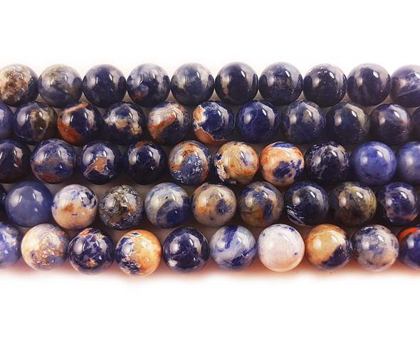 4mm Orange Sodalite Round Beads