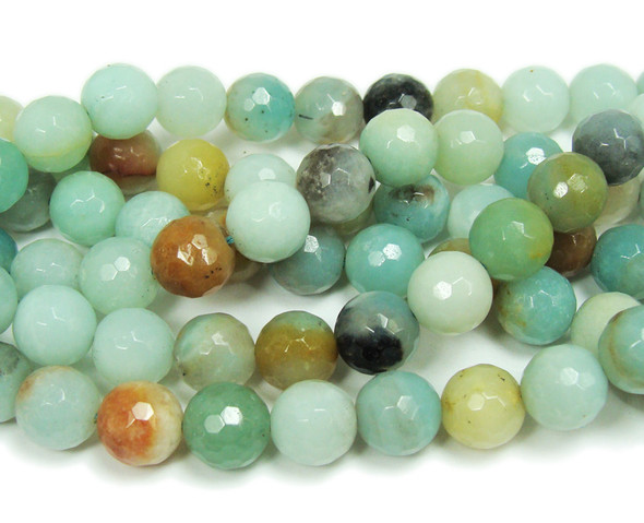 8mm Amazonite faceted round beads