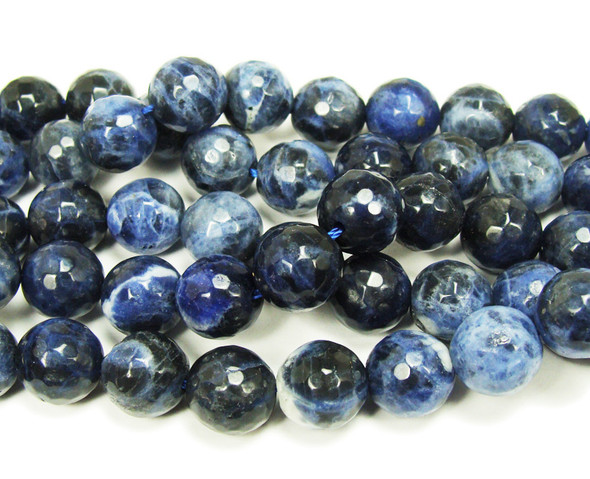 12mm Sodalite Faceted Round Beads