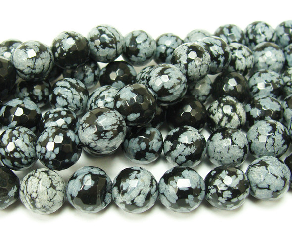 8mm Snowflake Obsidian Faceted Round Beads
