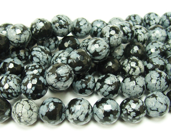 12mm Snowflake Obsidian Faceted Round Beads