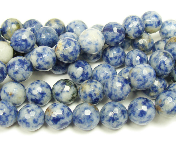 10mm Denim Lapis Faceted Round Beads