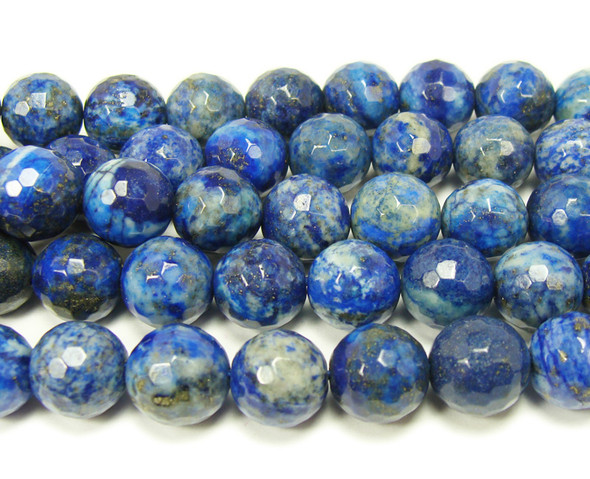 12mm Natural Color-Enhanced Lapis Faceted Round Beads