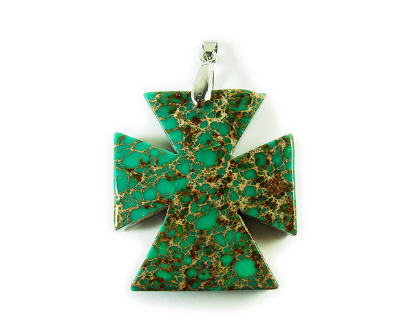 42x45mm Green imperial jasper thick cross pendant