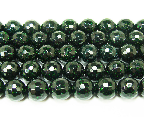10mm 15.5 Inches Green Goldstone Faceted Round Beads
