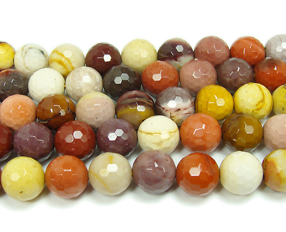 10mm  Mookaite faceted round beads