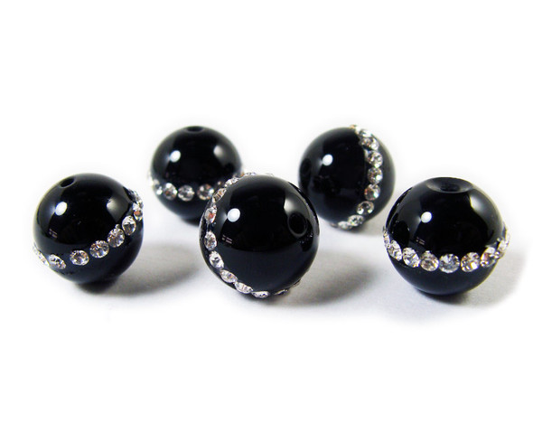 12mm  pack of 5 Black onyx round beads with inlaid CZ stripe