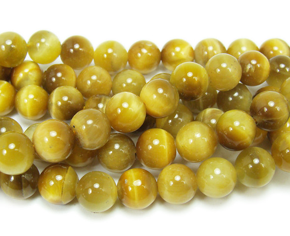 10mm 15.5 Inches Gold Tiger Eye Round Beads