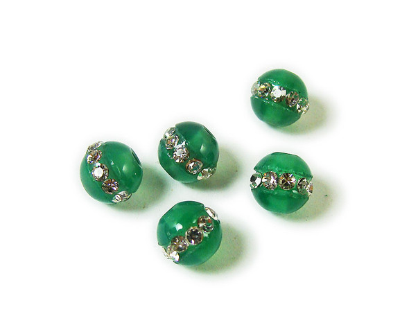 6mm  pack of 5 Green agate round beads with inlaid CZ stripe