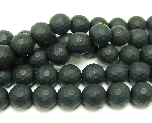 8mm 15.5 Inches Black Matte Agate/Onyx Faceted Round Beads