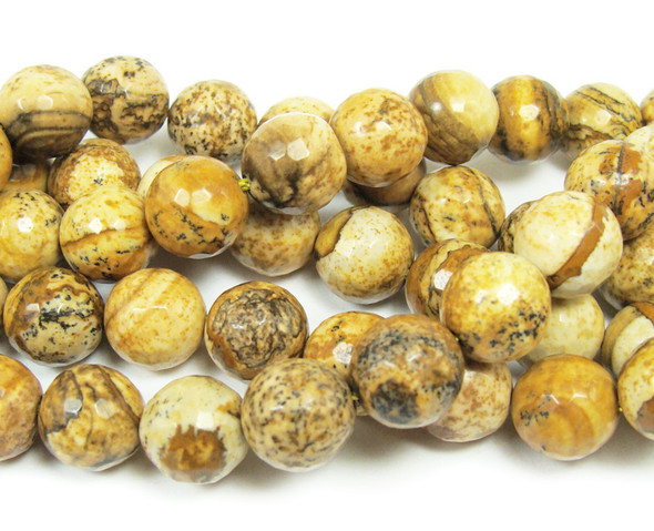 12mm Picture Jasper Faceted Round Beads