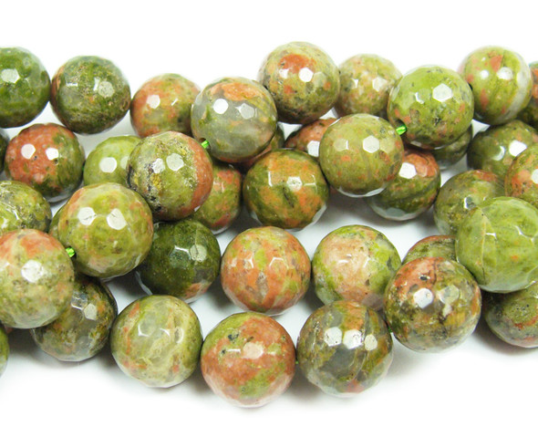 10mm  15.5 inches Unakite faceted round beads