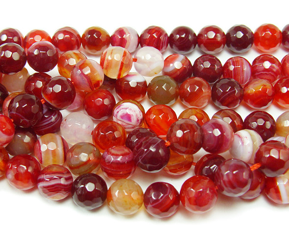 4mm Striped plum red agate faceted round beads