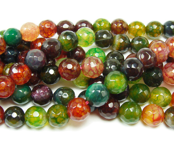 12mm Cracked Dark Green And Red Multi Color Agate Faceted Round Beads