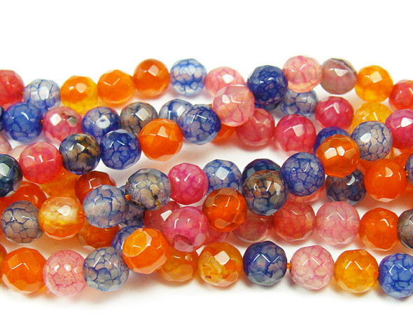 4mm Cracked Red And Blue Agate Faceted Round Beads
