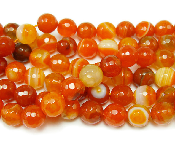 4mm Striped candy orange agate faceted round beads