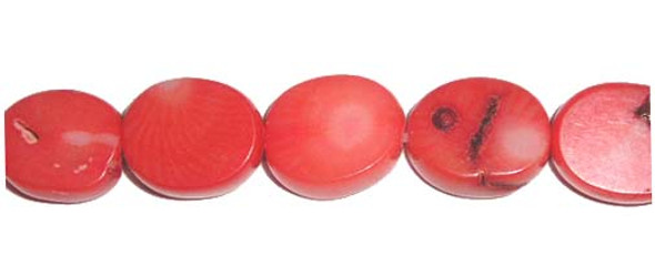 13x16mm Salmon-colored coral flat oval beads
