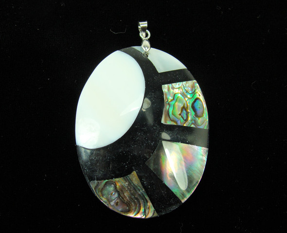 40x50mm Multi shell oval pendant with a silver bail