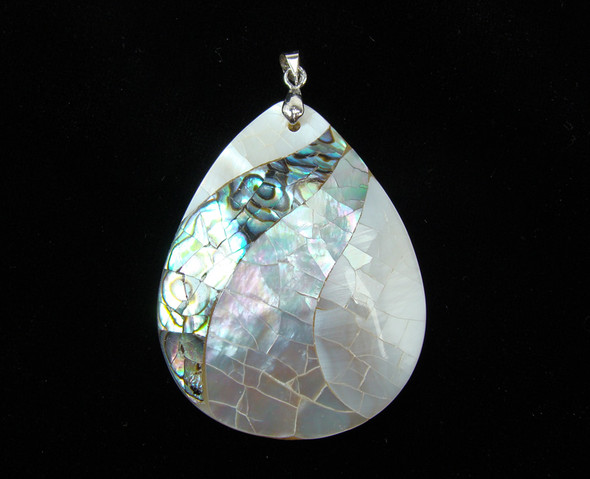 40x50mm Multi Shell Teardrop Pendant With A Silver Bail