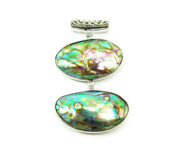 35x45mm Two piece abalone shell oval pendant in silver metal frame