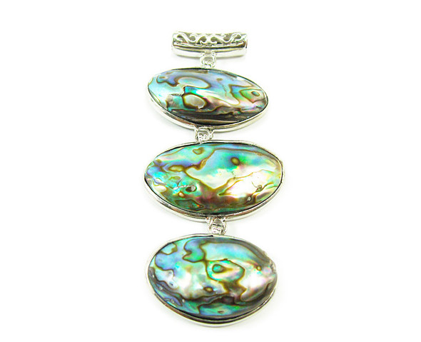 35x70mm Three piece abalone shell oval pendant in silver metal frame