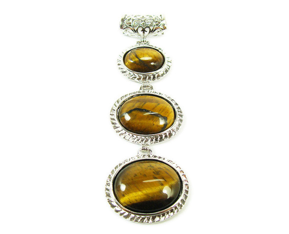 32x80mm Three piece tiger eye pendant in silver metal frame