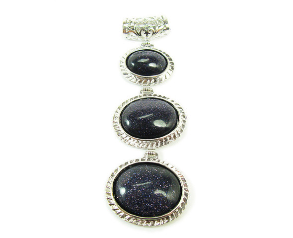 32x80mm Three piece blue goldstone pendant in silver metal frame