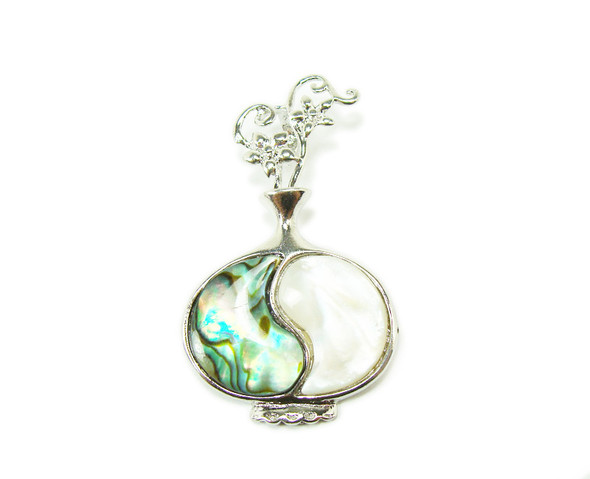 30x50mm Abalone shell and white shell vase pendant