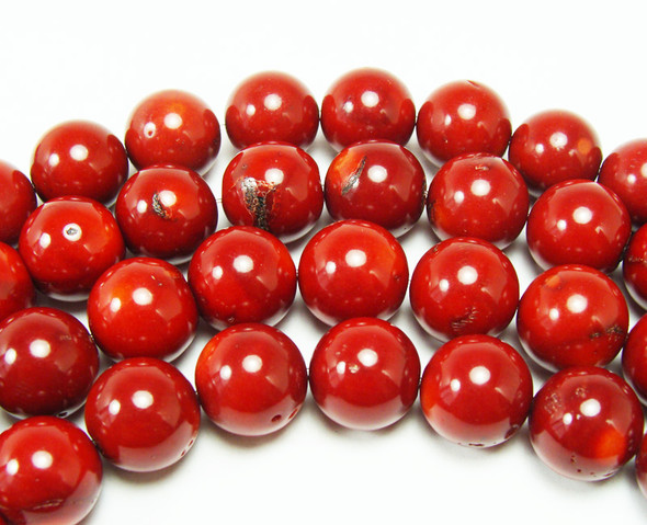 16-17mm Bamboo Coral Red Round Beads