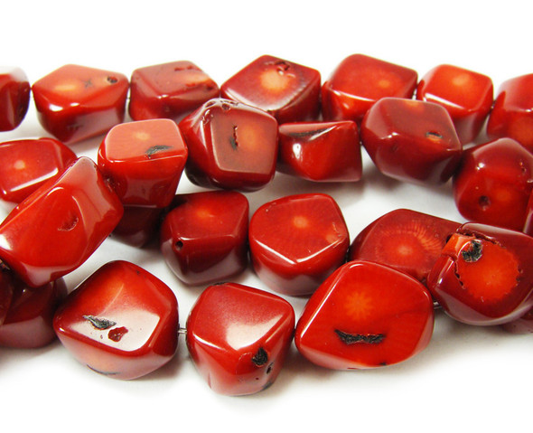"14x16mm  16"" strand Red bamboo coral faceted oval beads"