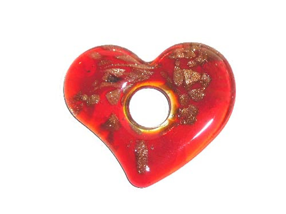 53x62mm  red Murano style heart pendant