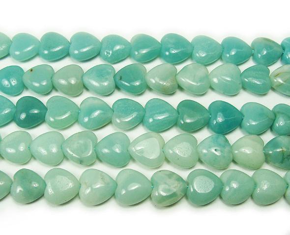 10x10mm Natural Amazonite Heart Beads