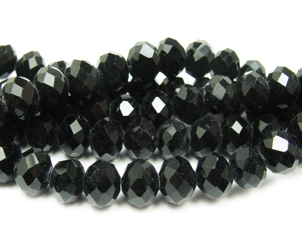 6x8mm  72 beads Black glass faceted rondelle beads