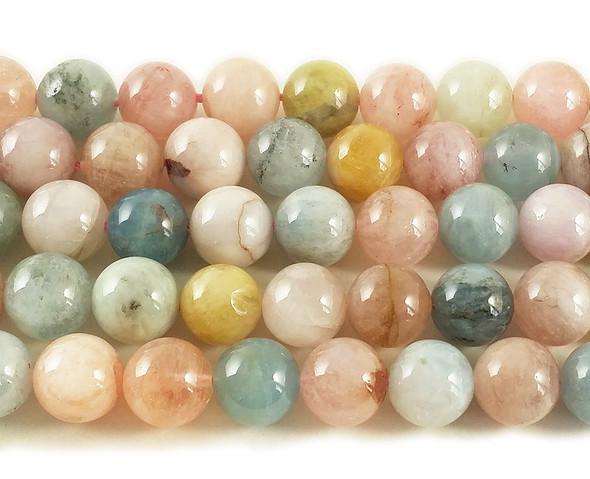10mm Pink Morganite Multi Stone Round Beads