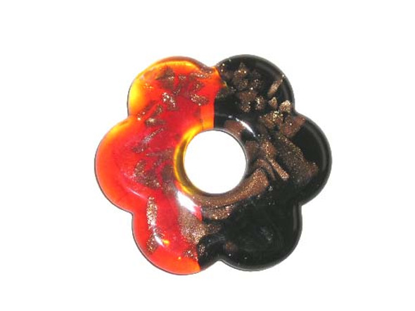 54mm  red and black Murano style flower pendant