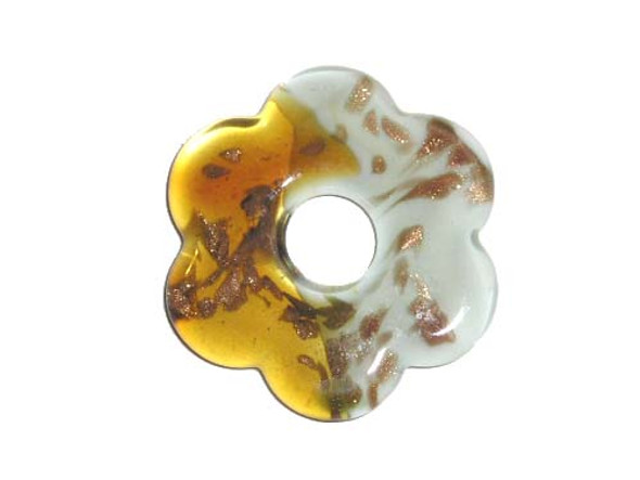 54mm  brown and white Murano style flower pendant
