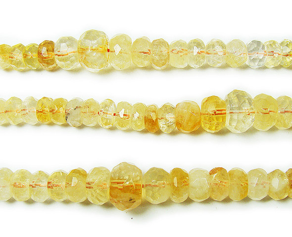 5x6mm To 12x16mm Citrine Graduated Faceted Rondelle Beads