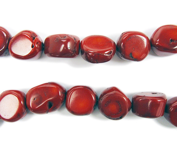 "18x20mm  16"" strand Red bamboo coral oval pebble beads"