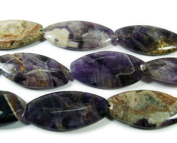 20x40mm Dogtooth amethyst chevron large oval beads