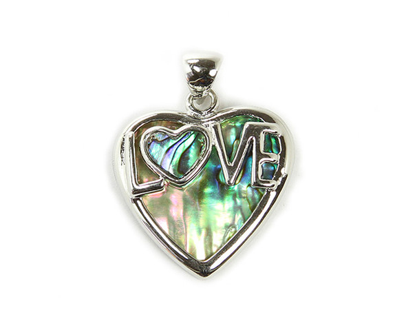 "30x30mm Abalone Shell ""Love"" Heart Pendant"