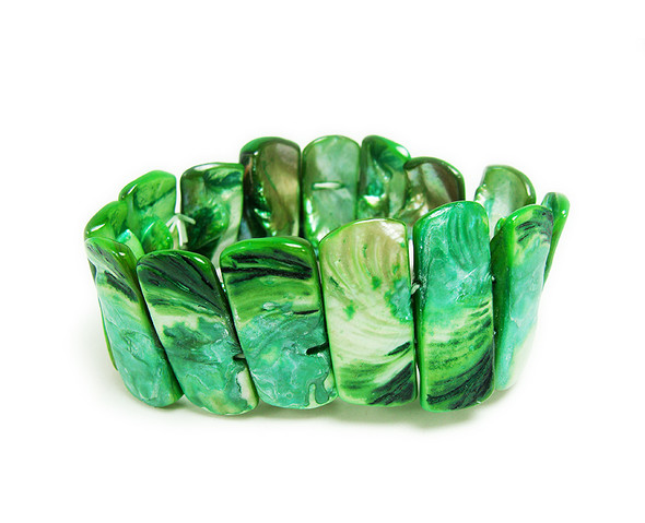 7.5-8 inches  green color Shell bracelet