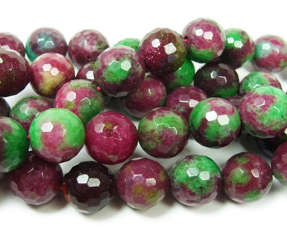 13-14mm Dark Red And Green Jade Faceted Round Beads
