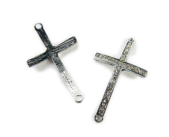 24x35mm  pack of 5 Platinum metal bent cross connector with CZ stones