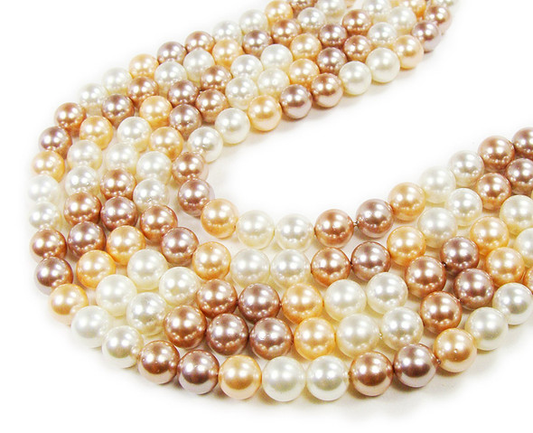 "6mm  14"" strand Muave, peach, and white shell pearl round beads"