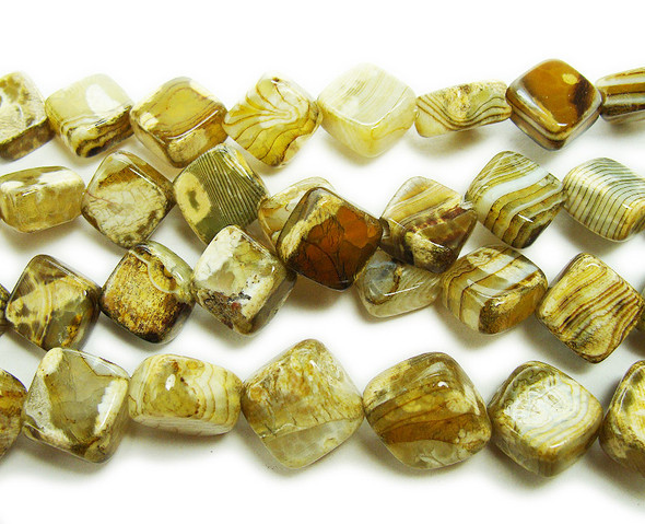 16x16mm Yellow Brown Fire Agate Rhombus Beads