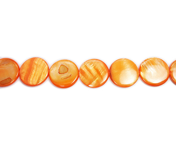 20mm  dark orange Mother of pearl puffed coin beads