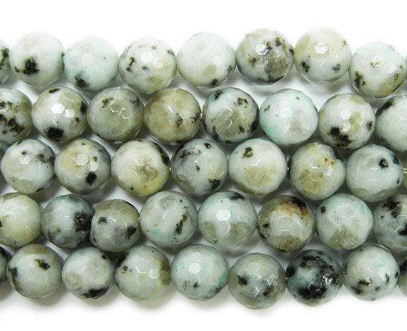 6mm Kiwi Stone Jasper Faceted Round Beads